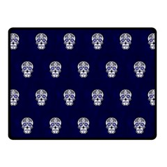 Skull Pattern Blue  Fleece Blanket (Small)