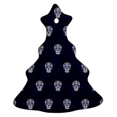 Skull Pattern Blue  Ornament (christmas Tree)