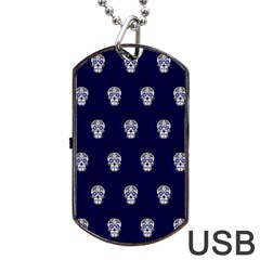 Skull Pattern Blue  Dog Tag Usb Flash (two Sides)