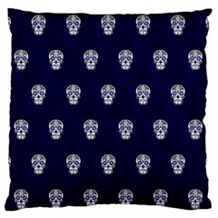 Skull Pattern Blue  Large Flano Cushion Cases (One Side)