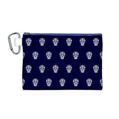 Skull Pattern Blue  Canvas Cosmetic Bag (M)