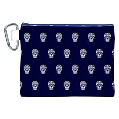 Skull Pattern Blue  Canvas Cosmetic Bag (XXL)