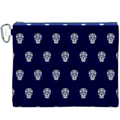 Skull Pattern Blue  Canvas Cosmetic Bag (XXXL)