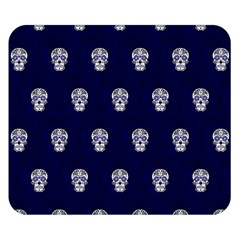 Skull Pattern Blue  Double Sided Flano Blanket (Small)