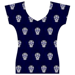 Skull Pattern Blue  Women s V-Neck Cap Sleeve Top