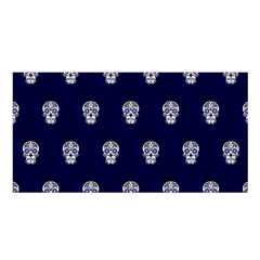 Skull Pattern Blue  Satin Shawl