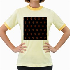 Skull Pattern Pink  Women s Fitted Ringer T-Shirts