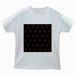 Skull Pattern Pink  Kids White T-Shirts