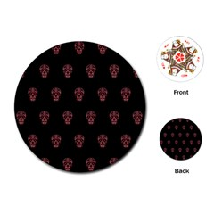Skull Pattern Pink  Playing Cards (Round)