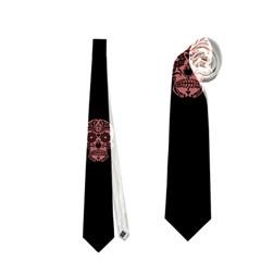 Skull Pattern Pink  Neckties (one Side)