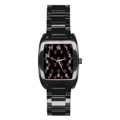 Skull Pattern Pink  Stainless Steel Barrel Watch