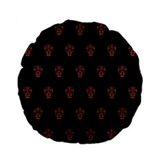 Skull Pattern Pink  Standard 15  Premium Flano Round Cushions