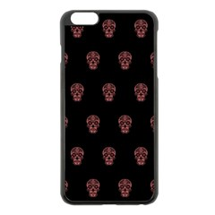 Skull Pattern Pink  Apple Iphone 6 Plus Black Enamel Case