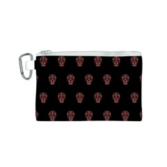Skull Pattern Pink  Canvas Cosmetic Bag (S)
