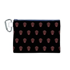 Skull Pattern Pink  Canvas Cosmetic Bag (M)