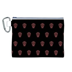 Skull Pattern Pink  Canvas Cosmetic Bag (L)