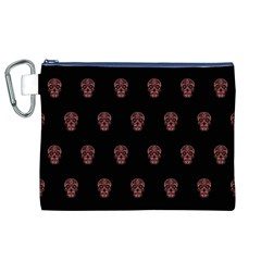 Skull Pattern Pink  Canvas Cosmetic Bag (XL)