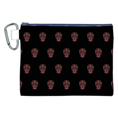 Skull Pattern Pink  Canvas Cosmetic Bag (XXL)