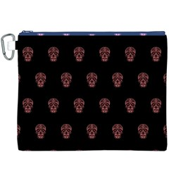 Skull Pattern Pink  Canvas Cosmetic Bag (XXXL)