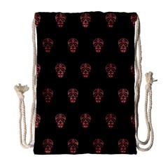 Skull Pattern Pink  Drawstring Bag (Large)