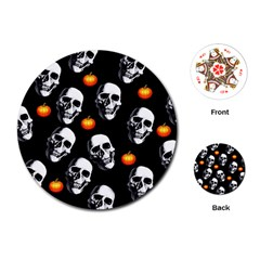 Skulls And Pumpkins Playing Cards (Round)