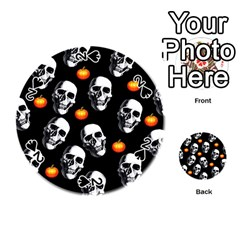 Skulls And Pumpkins Playing Cards 54 (round)