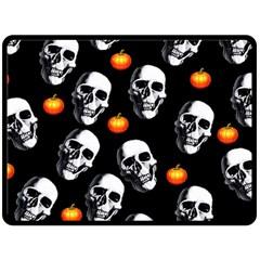 Skulls And Pumpkins Fleece Blanket (Large)