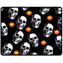 Skulls And Pumpkins Fleece Blanket (Medium)
