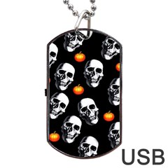 Skulls And Pumpkins Dog Tag USB Flash (Two Sides)