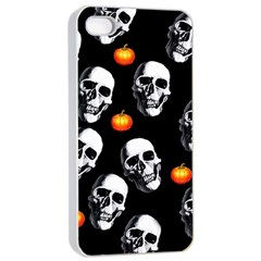 Skulls And Pumpkins Apple Iphone 4/4s Seamless Case (white)
