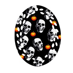 Skulls And Pumpkins Oval Filigree Ornament (2 Side)