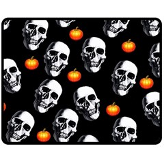 Skulls And Pumpkins Double Sided Fleece Blanket (Medium)