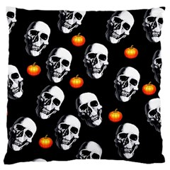Skulls And Pumpkins Large Flano Cushion Cases (One Side)