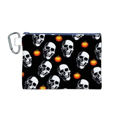 Skulls And Pumpkins Canvas Cosmetic Bag (M)