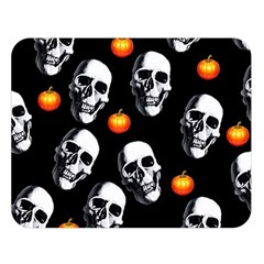 Skulls And Pumpkins Double Sided Flano Blanket (large)