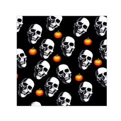 Skulls And Pumpkins Small Satin Scarf (square)