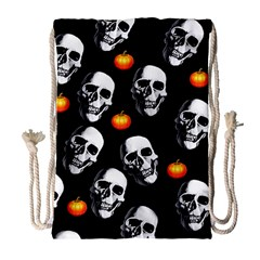 Skulls And Pumpkins Drawstring Bag (large)