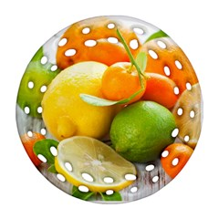 Citrus Fruits Round Filigree Ornament (2Side)