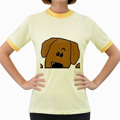 Peeping Dachshund Women s Fitted Ringer T-Shirts