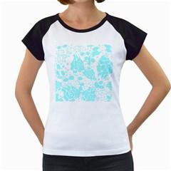 Floral Wallpaper Aqua Women s Cap Sleeve T
