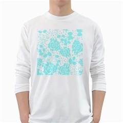 Floral Wallpaper Aqua White Long Sleeve T Shirts