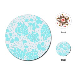 Floral Wallpaper Aqua Playing Cards (round)
