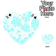 Floral Wallpaper Aqua Playing Cards 54 (heart)