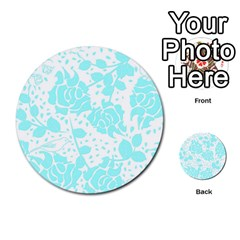 Floral Wallpaper Aqua Multi-purpose Cards (Round)