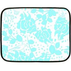 Floral Wallpaper Aqua Fleece Blanket (mini)