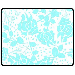 Floral Wallpaper Aqua Fleece Blanket (medium)