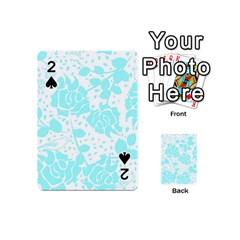 Floral Wallpaper Aqua Playing Cards 54 (Mini)