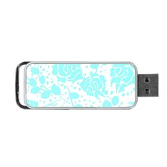 Floral Wallpaper Aqua Portable USB Flash (One Side)
