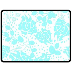 Floral Wallpaper Aqua Double Sided Fleece Blanket (Large)