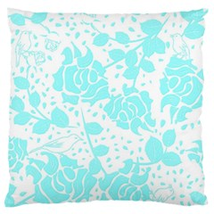 Floral Wallpaper Aqua Large Flano Cushion Cases (one Side)